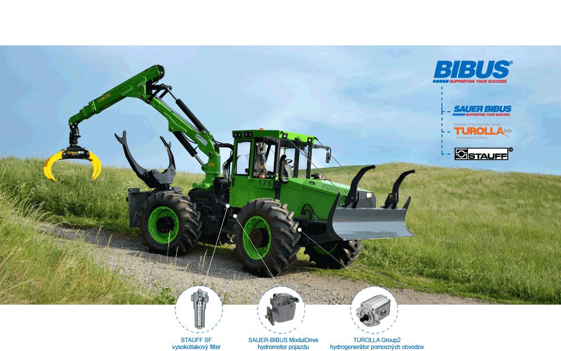 BIBUS SK lesné traktory Equus - Turolla, Sauer Bibus, Stauff